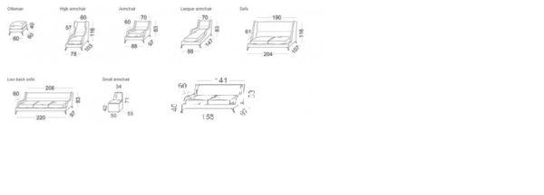 Canapé Class Vibieffe dimensions