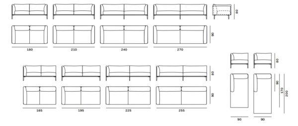 Canapé KUBI Novamobili dimensions