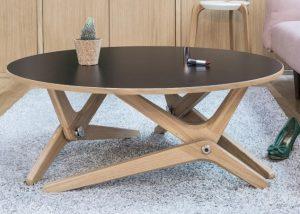 Table basse relevable Classique Noir sidéral boulon blanc