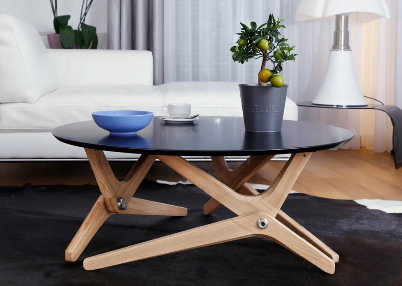 Table basse relevable Epure - Noir sidéral
